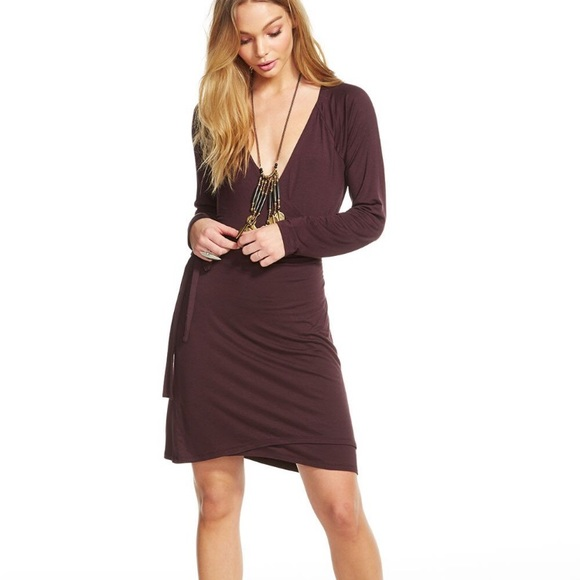 838644bc85 Chaser Plum Cool Jersey Wrap Dress